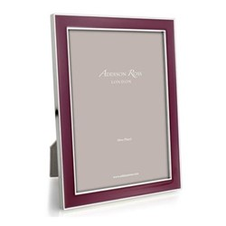 "Enamel Range Photograph frame, 4 x 6"" with 15mm border, plum with silver plate"