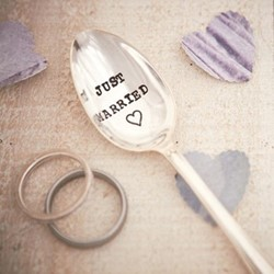 Just Married Teaspoon, 13cm, silver plated