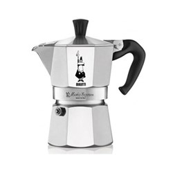 Moka Express Aluminium stovetop coffee maker, 3 cup, silver