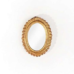 Charles Oval carved wood mirror, H22 x W17cm, antique gold