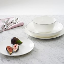 Grove 24 piece dinnerware set, white with platinum rim