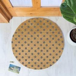 Grey Dots Circular doormat, 70cm, natural/grey