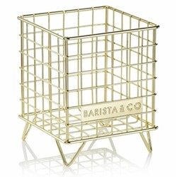 Pod Cage coffee capsule storage, 18 x 14 x 14cm, gold