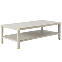 Osiris Coffee Table, H49 x L75 x W150cm, faux taupe shagreen and brass