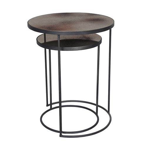 Nesting side table set, H56 x D43cm, bronze