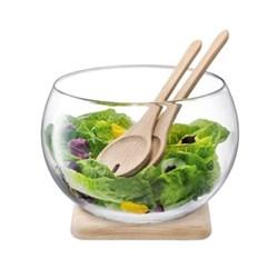 Serve Salad set & oak base, 18cm