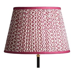 Straight Empire Block printed lampshade, 45cm, crimson chevrons with crimson tape