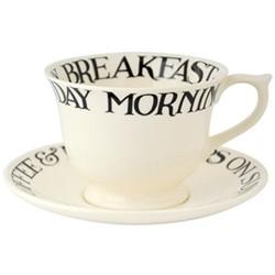 Black Toast Large teacups & saucer