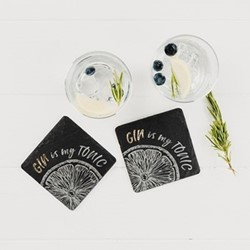 Gin Is My Tonic Pair of coasters, W11 x L11cm, gold