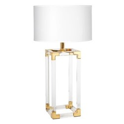 Jacques Column table lamp, Dia45.72 x H74.93cm, white/brass