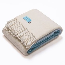 Noon Tides Blanket, 130 x 250cm, turquoise/blue/cream wool