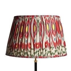 Straight Empire Ikat printed lampshade, 50cm, heraldic linen