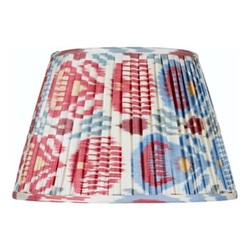 Ikat Silk lampshade, H33 x Dia50cm, Red/green/blue