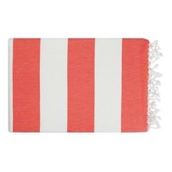 Lightweight Beach towel, 95 x 160cm, coral/ white