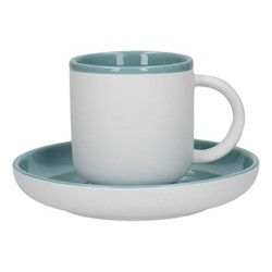 Barcelona Coffee cup and saucer, 300ml, retro blue