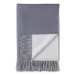 Plain Reversible Cashmere throw, 190 x 140cm, slate blue / pale grey