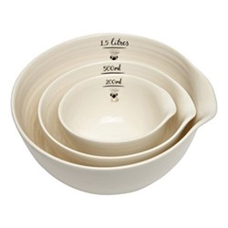 Pug Set of 3 nested bowls, brown