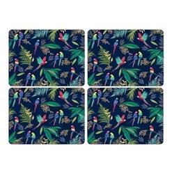 Parrot Set of 4 placemats, 30.5 x 23cm, navy