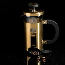 Edited - Pisa 3 cup cafetiere, H14 x W17 x L18cm - 350ml, brushed gold