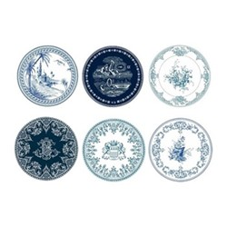 Les Dépareillées Bleu Set of 6 coasters, Dia13cm, white/blue