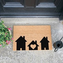Home Is Where The Heart Is Doormat, L60 x W40 x H1.5cm, black/brown