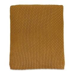 Moss Stitch Cotton throw, 125 x 180cm, mustard