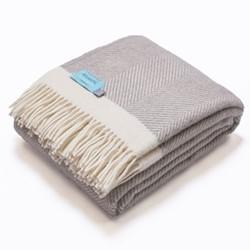 Herringbone Blanket, 130 x 250cm, grey/cream wool