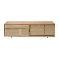 Air Low sideboard, 180 x 38 x 50cm, oak/cane