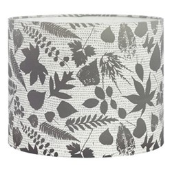 Falling Leaves Drum lampshade, W31 x H24cm, white/grey ombre