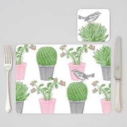 Cactus & Bird Set of 4 placemats, 29 x 21cm