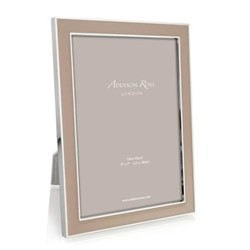 "Enamel Range Photograph frame, 4 x 6"" with 15mm border, cappuccino with silver plate"