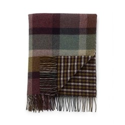 Checked Lambswool throw, 190 x 140cm, heather/check gingham