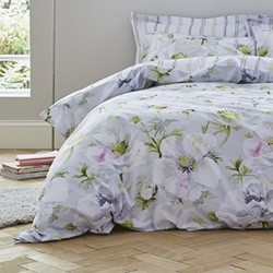 Arctic Poppy Double duvet set, 200 x 200cm, white/green