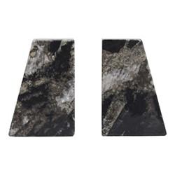 Ashford Pair of bookends, H15 x W5 x D10cm, black marble