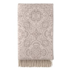 Shimmer Damask Cashmere bed throw, 245 x 150cm, rose taupe