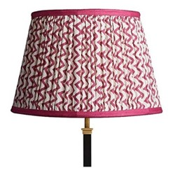 Straight Empire Block printed lampshade, 35cm, crimson chevrons with crimson tape