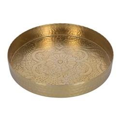 Floral decorative metal round tray, D35cm