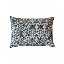 Martha Geometric Rectangular linen cushion, L50 x W30cm, charcoal