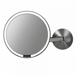 Rechargable wall sensor mirror, H23 x W35cm, brushed stainless steel