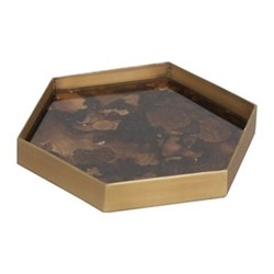 Tortoise Organic glass tray, W19 x D16 x H3cm, brown
