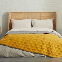 Zio Cotton bed throw, 150 x 200cm, mustard yellow/soft grey