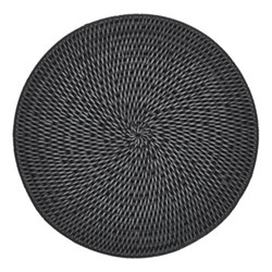 Ashcroft Set of 6 placemats, Dia29cm, charcoal rattan