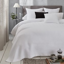Mason Herringbone - Cotton Super king bedcover, W280 x L260cm, white
