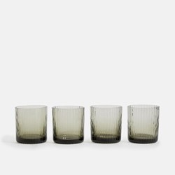 Meynell Set of four ribbed lowball glasses, Grey