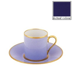 Sous le Soleil Coffee cup and saucer straight sided, 9cl, cobalt blue with classic matt gold band