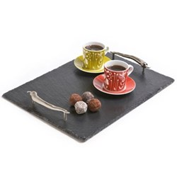 Chilli Handles Serving tray, 35 x 25cm, slate and stainless steel