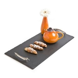 Chilli Handles Serving tray, 42 x 15cm, slate and stainless steel
