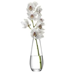 Flower Tall stem vase, 29cm, clear