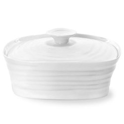 Ceramics Covered butter dish, 15.5 x 12cm, white