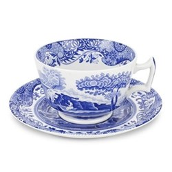 Blue Italian Set of 4 breakfast cups and saucers, 28cl